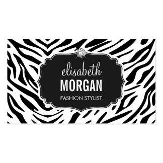 Diamante brillante del estampado de zebra blanco y tarjetas de visita