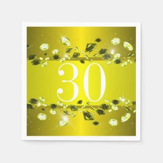 Diamante brillante del trigésimo oro del servilletas de papel