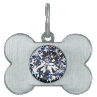 Diamante brillante placa de mascota
