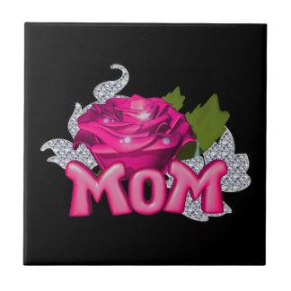 Diamante color de rosa de la mamá y del tatuaje azulejo cuadrado pequeño