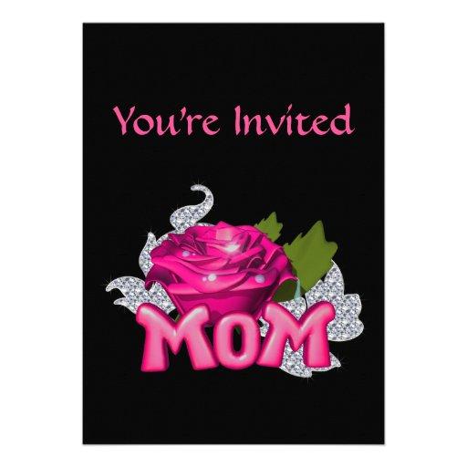 Diamante color de rosa de la mamá y del tatuaje ro invitaciones personales