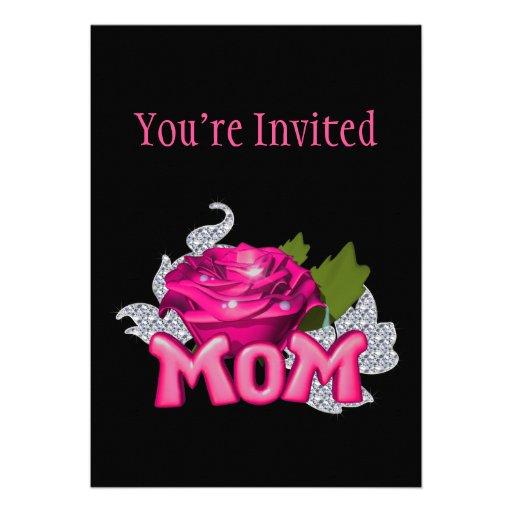 Diamante color de rosa de la mamá y del tatuaje ro comunicado