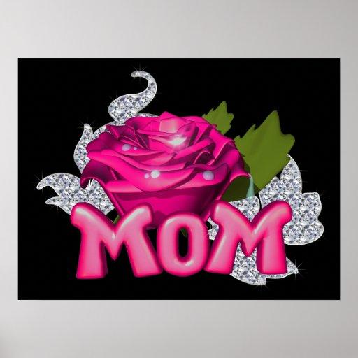 Diamante color de rosa de la mamá y del tatuaje ro impresiones