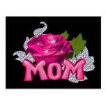 Diamante color de rosa de la mamá y del tatuaje ro tarjetas postales