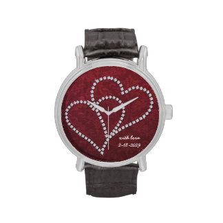 Diamante - corazones del amor de Bling - reloj ada
