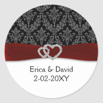 diamante damask red wedding classic round sticker