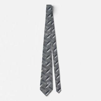 Diamante de acero plateado corbatas