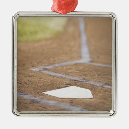 Diamante de béisbol adorno cuadrado plateado