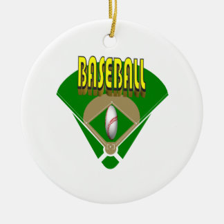Diamante de béisbol adorno redondo de cerámica