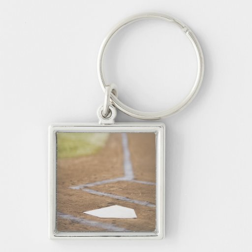 Diamante de béisbol llavero cuadrado plateado