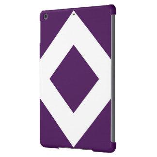 Diamante de color morado oscuro, frontera blanca carcasa para iPad air