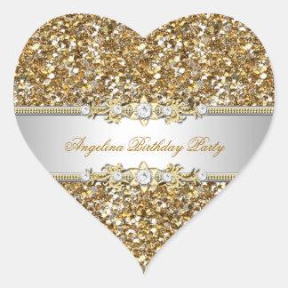 Diamante de la joya del oro de la fiesta de colcomanias de corazon