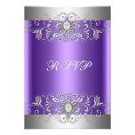 Diamante de plata púrpura de la fiesta de cumpleañ comunicados personalizados
