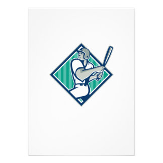 Diamante del bateo del bateador del béisbol retro anuncios personalizados