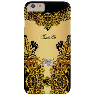 Diamante del cordón del negro del oro amarillo de funda de iPhone 6 plus barely there