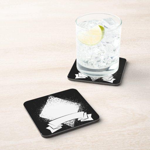 Diamante del Grunge en blanco Posavasos De Bebidas