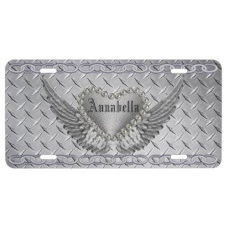 Diamante del monograma y placa de encargo de los placa de matrícula