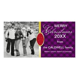 Diamante del navidad y tarjeta de piedra roja de l tarjetas con fotos personalizadas