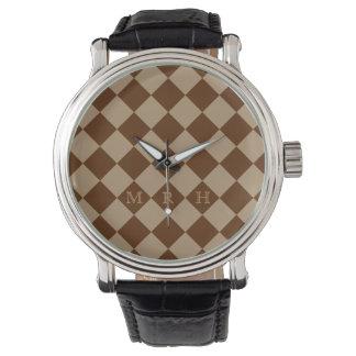 Diamante divino Patterns_Chocolate Mocha_monogram Relojes De Mano