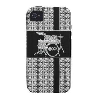 Diamante Drumset de la estrella del rock Vibe iPhone 4 Fundas