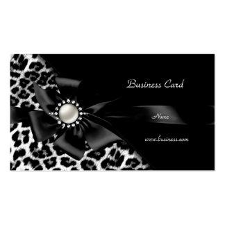 Diamante elegante de la plata del negro del leopar tarjeta de visita