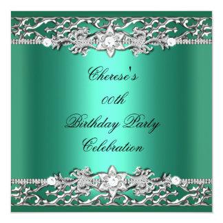 """Diamante elegante de la plata del verde de jade de invitación 5.25"""" x 5.25"""""""