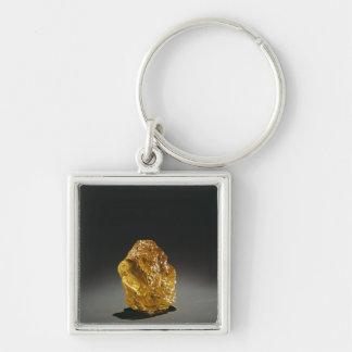 Diamante en bruto amarillo llavero cuadrado plateado