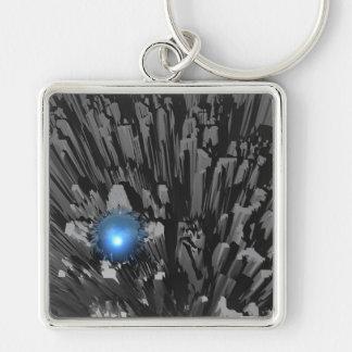 Diamante en bruto azul llavero cuadrado plateado