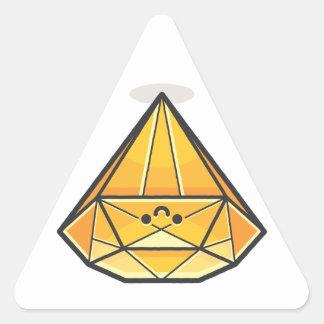 Diamante feliz de la sonrisa pegatina triangular