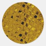 Diamante femenino metálico brillante del oro pegatina redonda