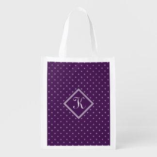 Diamante Florettes con el monograma en púrpura Bolsas Reutilizables