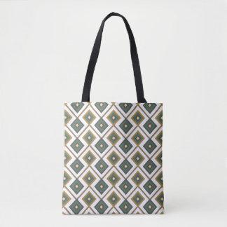 Diamante in green tote bag