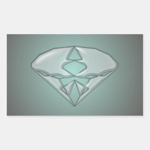 Diamante   intrépido pegatina rectangular