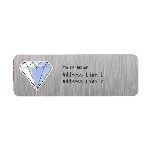 Diamante; Metal-mirada cepillada Etiqueta De Remite