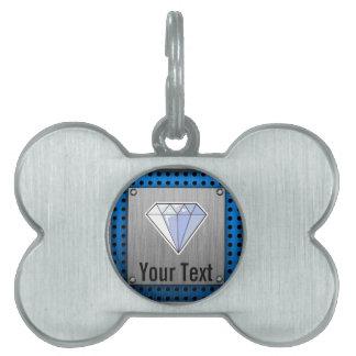 Diamante; Metal-mirada cepillada Placas Mascota
