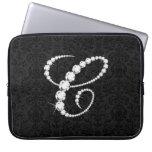 Diamante-Monograma chispeante elegante de la inici Fundas Computadoras