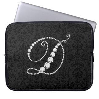 Diamante-Monograma chispeante elegante de la inici Fundas Portátiles