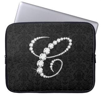 Diamante-Monograma chispeante elegante de la inici Mangas Portátiles