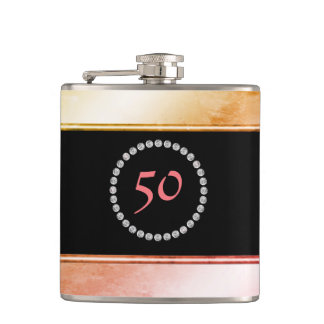 Diamante Monogrammed 50th Birthday Fifty 50 Party Flask