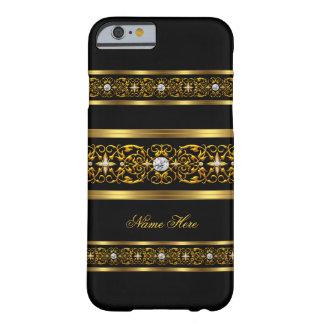 Diamante negro 2 del oro con clase elegante funda para iPhone 6 barely there