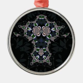 Diamante negro adorno navideño redondo de metal