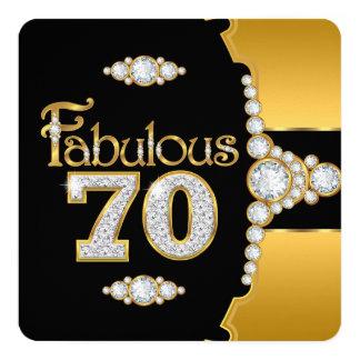 """Diamante negro del 70.o oro fabuloso del invitación 5.25"""" x 5.25"""""""