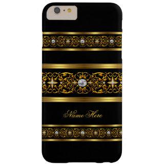 Diamante negro del oro con clase elegante funda para iPhone 6 plus barely there