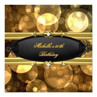 Diamante negro del oro de la fiesta de cumpleaños invitación 13,3 cm x 13,3cm