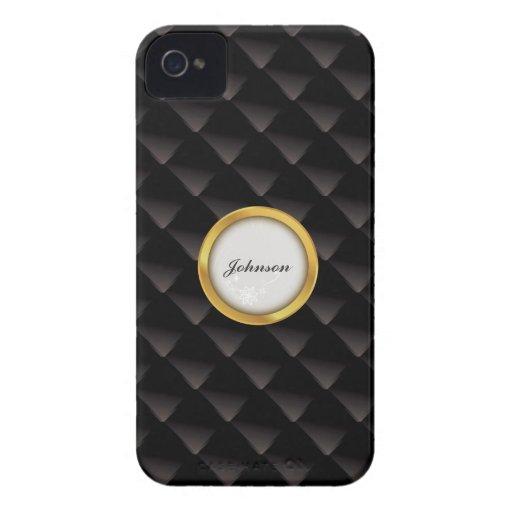 Diamante negro elegante con la etiqueta de oro el iPhone 4 cobertura