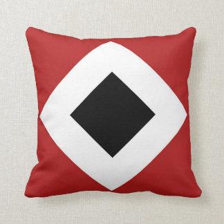 Diamante negro, frontera blanca intrépida en rojo cojín