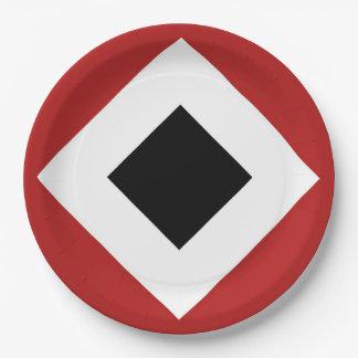 Diamante negro, frontera blanca intrépida en rojo plato de papel de 9 pulgadas