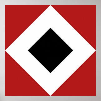 Diamante negro, frontera blanca intrépida en rojo póster
