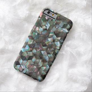 Diamante negro nacarado de la estrella de la teja funda para iPhone 6 barely there
