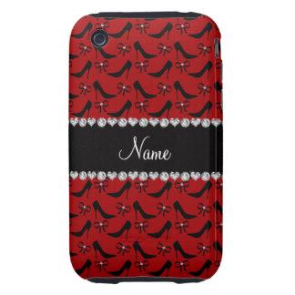 Diamante negro rojo conocido de encargo del arco tough iPhone 3 carcasas